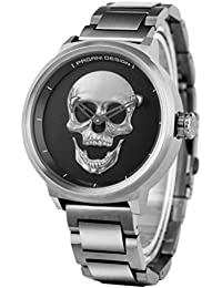 Mens Waterproof 3D Skull Wrist Watch Quartz Punk Stainless Steel Band Unique Fashion Watches Christams Gifts