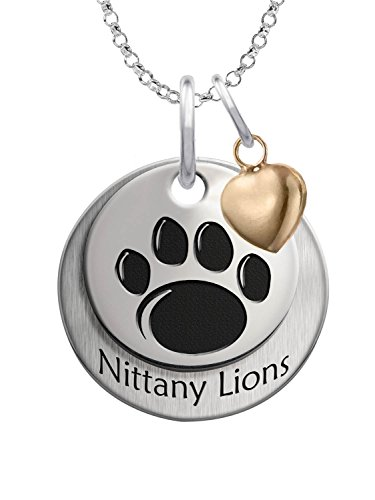 (Penn State University Nittany Lions Sterling Silver Stacked Mascot Charm Necklace with Heart Accent)