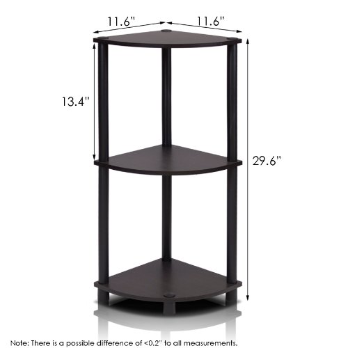 Furinno 12077EX/BK Turn-n-Tube Multipurpose 3-Tier Corner Shelf, Espresso/Black by Furinno
