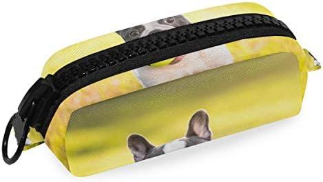 LUPINZ Bulldog francés con diseño de bolas, estuche de lápices con cremallera grande de plástico: Amazon.es: Oficina y papelería