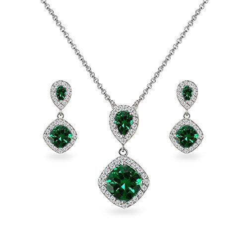 Sterling Silver Simulated Emerald & White Topaz Dangle Earrings & Necklace Set
