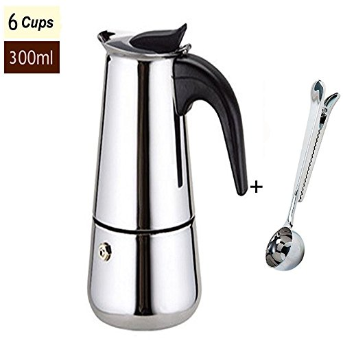 Stainless Steel Moka Italian Espresso Latte Percolator Stove Top Coffee Maker Pot with Bonus Scoop. Durable,Elegant,Makes Perfect Coffee, Easy Clean Up (6-cups/300ML)