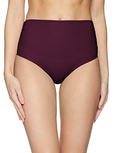 Anne Cole Women's High Waist to Fold Over Shirred Bikini Bottom Swimsuit, Aubergene Sangria, Medium (Over Bikini)