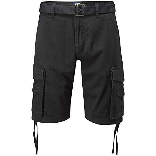 Charles Wilson Men's Comfort Stretch Belted Cargo Shorts (Black, 31