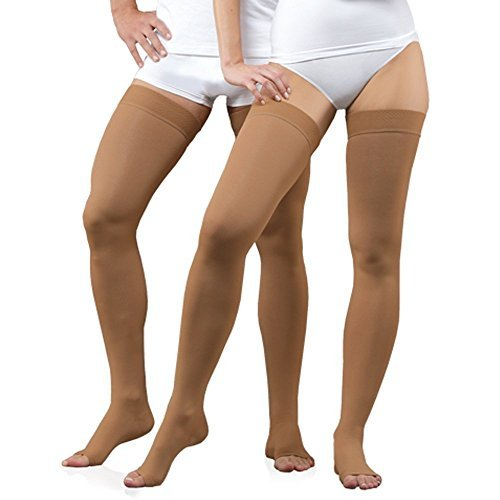 INFINITUM MEDICAL COMPRESSION Stockings with OPEN Toe, FIRM Grade Class I or II, Thigh High Support Socks without Toecap (Class 1 18-21mmHg Height: 62.2-66.9 in, Size:L) by INFINITUM B01KYKIE1M