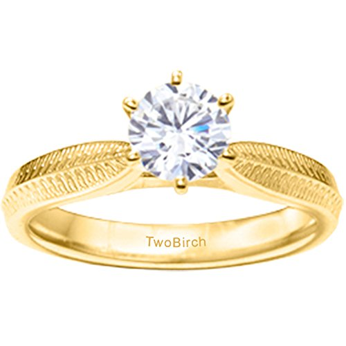 TwoBirch 3/4 ct. Diamonds Engraved Pinched Shank Solitaire in 14k Yellow Gold (0.75 ct. twt.)