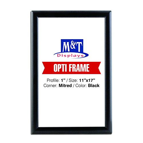 Snap Frame 11x17, 1 inch Profile, Mitered Corner, Aluminum, Wall Mounted - Black, Front Loading