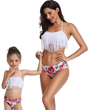 7d866e7b57711 Amazon.com  Peacur Mother And Daughter Sling Tassel Printed Bikini Set Sexy  Halter Two Pieces Tankini Swimsuit Beachwear (S