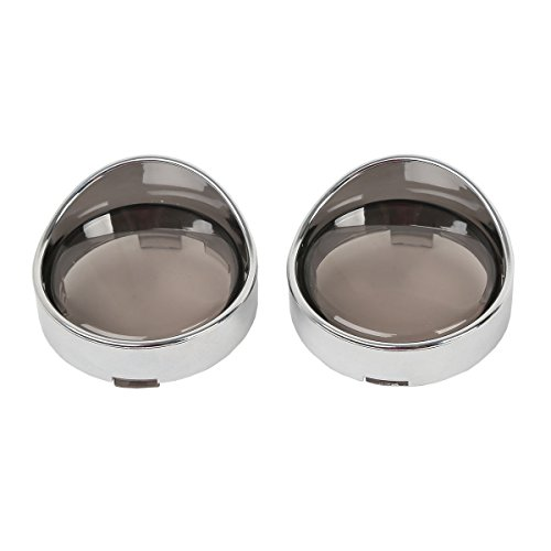 TCMT Smoked Turn Signal Lens Chrome Turn Signal Light Trim Ring Visors Fits For Harley parts 2000-UP ()