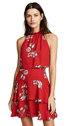 BB Dakota Women's Cadence Printed Ruffle Dress, Red, 2 (Womens Dakota)