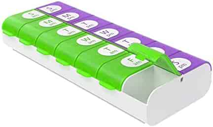 Ezy Dose Easy Fill Weekly (7-day) Pill Organizer and Planner │ Easy to Fill Pill Planner