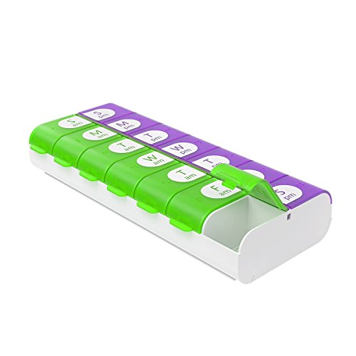 Ezy Dose Easy Fill Weekly (7-day) Pill Organizer and Planner │ Easy to Fill Pill - Box Pill Organizer