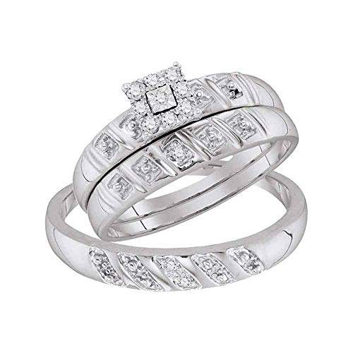 (Sterling Silver His & Hers Round Diamond Cluster Matching Bridal Wedding Ring Band Set 1/10 Cttw)