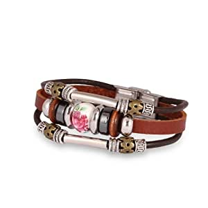 Fashion Plaza Women Girls Ceramics Bead Flower Engraved Triple Leather Bracelet L97