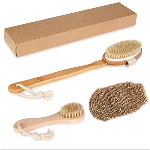 Set Exfoliating Bath - Bath Shower Brushing Premium Dry Body Brush Scrubber Set-Long Handle Solid Wood Boar Bristle Body Brush+Short Handle Exfoliating Face Brush+Plant Fibres Bath Gloves(Gift Box)