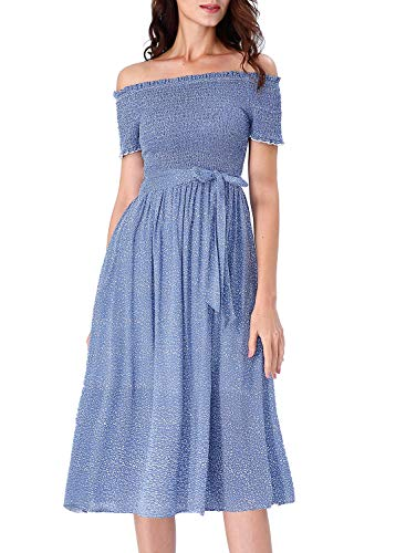 VFSHOW Womens Summer Blue White Dot Print Ruffle Neck Off Shoulder Smocked Pockets Pleated Casual Beach Swing A-Line Midi Dress G3126 BLU - Smocked A-line