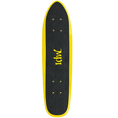MPI NOS Fiberglass Wide Tail Skateboard Deck with Grip, Yellow, 6.75