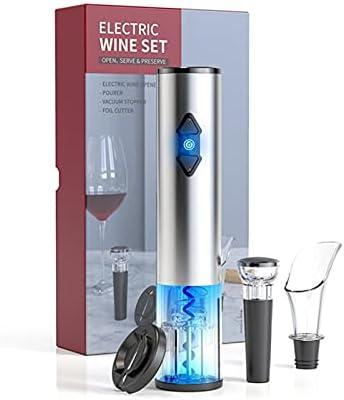 GKXAZ Abridor de vinos Sacacorchos de Acero Inoxidable Abre de Vino eléctrico USB Recargable Recargable abrelatas Accesorios de Cocina Abridor de Botellas (Color : Gris)