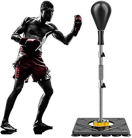 パンチング ボール 高さ調節可能なパンチングスピードボール、子供/男性/女性用スタンド付き自立レザーボクシングボールバッグ、抗ストレスフィットネス (Color : Black)