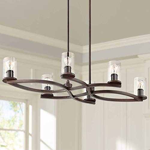 - Fairport Bronze and Clear Glass 6-Light Island Chandelier - Franklin Iron Works