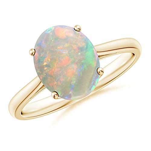 Oval Solitaire Opal Cocktail Ring in 14K Yellow Gold (10x8mm Opal)