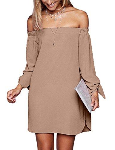 just quella Women's Casual Off The Shoulder Loose Long Dress 8650 (XXL, Mocha)