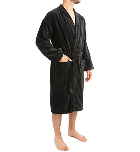 Mens Black Robe (Polo Ralph Lauren Men's Cotton Velour Kimono Robe (Large/X-Large,)