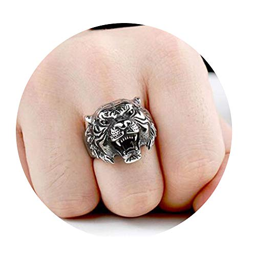 - CAIYCAI Retro Gothic Punk Men Rings Skull Wolf Dragon Male Rings Jewelry Halloween Anillo Hombre FF053 7