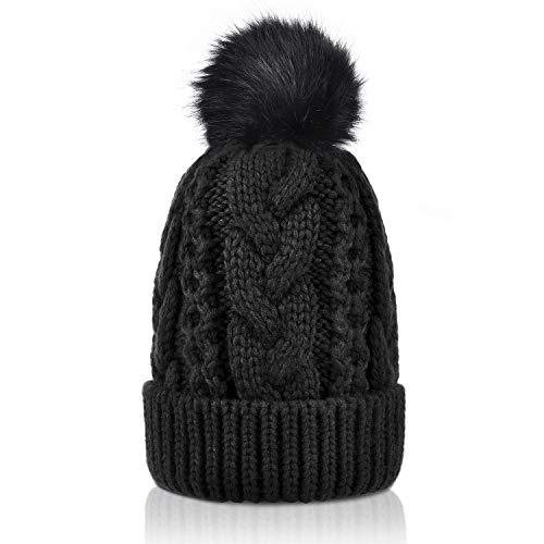 (Winter Thick Cable Knit Faux Fuzzy Fur Pom Pom Sherpa Lined Skull Ski Cap Cuff Beanie Black)