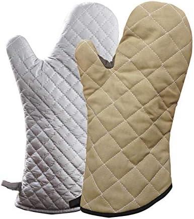 AiHua Huang 火傷防止手袋プラス綿絶縁滑り止めスチーマーオーブン高温家庭用火傷防止手袋 (Color : Silver, Size : L)