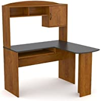 Ameriwood L-Shaped Desk with Hutch, Black Alder