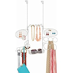 InterDesign Classico Hanging Fashion Jewelry and Accessories Organizer for Rings, Earrings, Bracelets, Necklaces, Belts, Scarves - Over Door, White