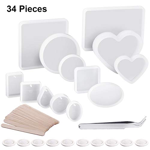 Resin Molds Silicone Casting Resin Molds Epoxy Resin Ball Molds Clear DIY Silicone Molds for Resin Jewelry, Clay, Soap Candle Craft Making with Oval, Heart, Square, Circle Shape
