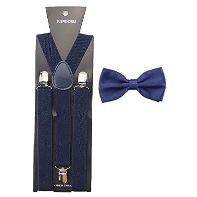 HABIBEE Solid Color Mens Suspender Bow Tie Set Clip On Y Shape Adjustable Braces