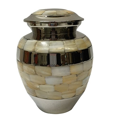 Custom Cremation urn, Funeral urns, Brass Mother of Pearl Memorial ash Container,Holds 40 pounds