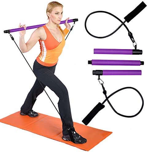 FSWSHSF Portable Pilates bar kit with Adjustable Resistance Band,Stretch Fusion Pilates bar,Pilates bar kit with Foot Straps for Portable Home Gym Workout