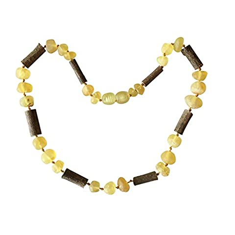 Raw Lemon Baltic Amber + Hazelwood Colic, Reflux and Teething Necklace by UMAI- Individually knotted – Natural Certified Amber with the highest quality - For Babies and (Baltic Amber Olive Necklace)
