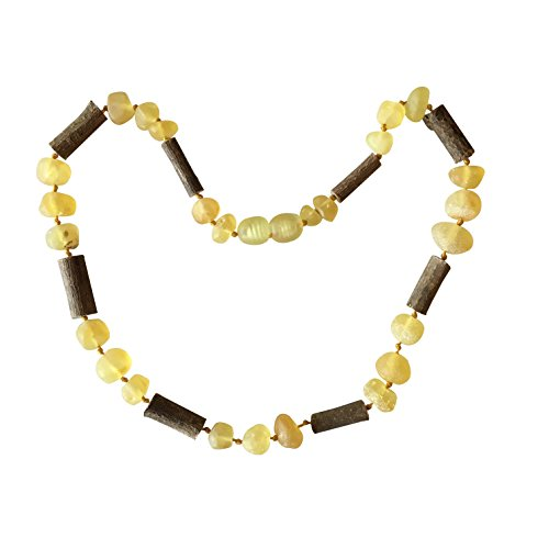 Raw Lemon Baltic Amber + Hazelwood Colic, Reflux and Teething Necklace by UMAI- Individually knotted – Natural Certified Amber with the highest quality - For Babies and Toddlers