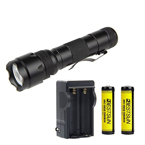 BESTSUN WF-502B Single Mode Tactical Flashlight, Ultra Bright New Cree XM-L2 LED 1200 Lumens LED Flashlight, Waterproof Portable Mini Handheld Flashlight with Rechargeable 18650 Batteries and Charger