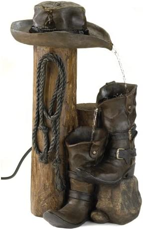 Wild Western Rustic Cowboy Hat Boot Water Fountain