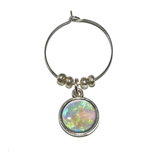 Price comparison product image Graphics and More Opal October Birthstone - Faux Resin Wine Glass Charm Drink Stem Marker Ring