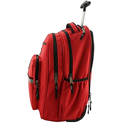 K-Cliffs Heavy Duty Rolling Backpack School Backpacks with Wheels Deluxe Trolley Book Bag Wheeled Daypack Workbag Multiple Pockets Bookbag with Safety Reflective Stripe Red: Computers & Accessories