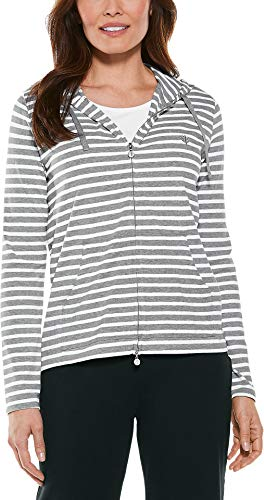 - Coolibar UPF 50+ Women's Seaside Hoodie - Sun Protective (Small- Grey & White Stripe)