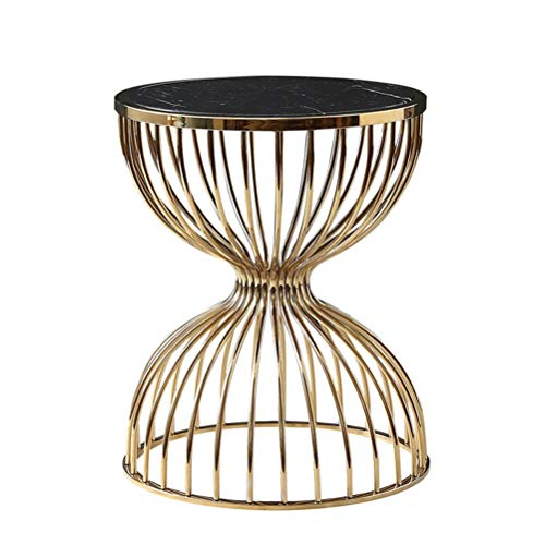 (JINXUXIONGDI Italian Light Luxury Living Room Coffee Round Table Creative Hourglass Shape Marble Plated Nordic Side Table Coffee Table Sofa Side Round Table Iron Frame 50X61cm / 15