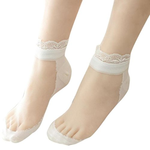 Lamolory Women Short Socks,Ultrathin Transparent Beautiful Crystal Lace Elastic (White, Large)