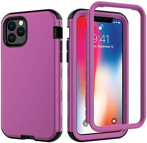 Kit Me Out World Rugged Series Case Designed for iPhone 11 Pro 5.8 Inch Case, Drop Proof, Drop Protection Full Body Rugged Heavy Duty Case, 3-Layer Protective Durable Shockproof Case Cover (Purple)