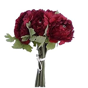"12"" Ranunculus Bouquet Silk Wedding Bridal Flowers Centerpieces 10 Heads (Burgundy) 19"