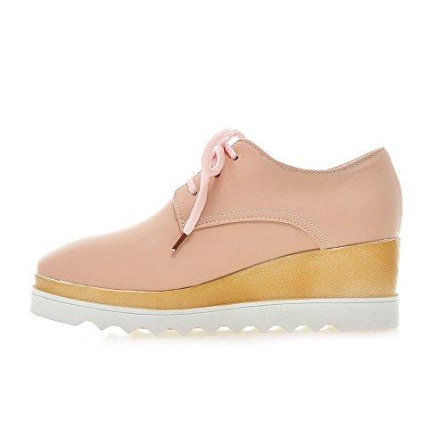 Allhqfashion Donna Stringata Quadrata Punta Chiusa Gattino-tacco Pu Pompe-scarpe Tinta Unita Rosa