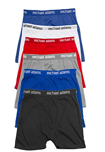 Michael Adams Mens Boxer Briefs Wonderful Soft Comfort Waistband Available In 3 Packs and 6 Packs (6-PK: 2 Blue, Black, Grey, Red, White, X-Gigantic)