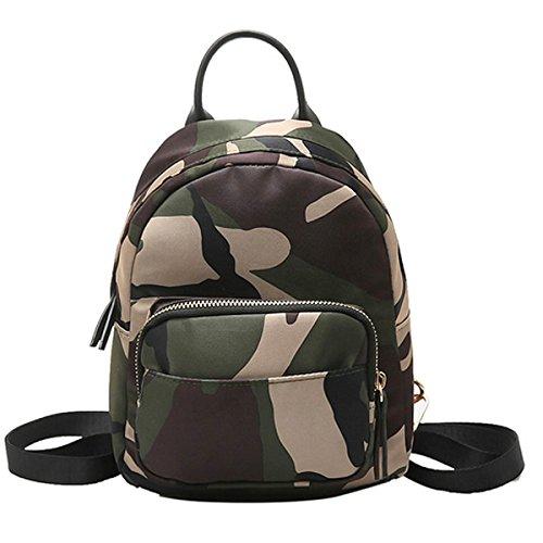 (Clara Camouflage Women Mini Backpack Nylon Leisure Daypack Printed Shoulder Bag Handbag Purse(Camouflage))